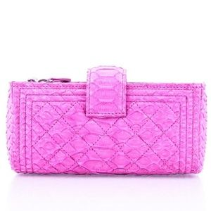 CHANEL Bags - Chanel Boy Python Wallet On Chain Pink